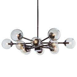Arteriors Karrington Modern Classic Brown Nickel Smoke Globe Chandelier