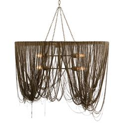 Arteriors Layla Hollywood Regency Cascading Chain Swag Chandelier