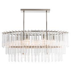 Arteriors Nessa Modern Fluted Glass Silver Rod Oval Pendant