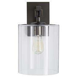 Arteriors Parrish Industrial Modern Bronze Glass Cylinder Wall Sconce