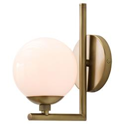Theo Modern Antique Brass White Glass Single Bracket Sconce