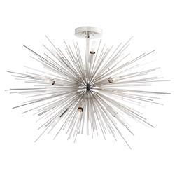 Arteriors Zanadoo Modern Polished Nickel Burst Short Sputnik Chandelier