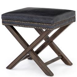 Remy Modern Grey Stud Leather Wood Ottoman