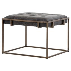 Ulysses Industrial Loft Tufted Ebony Leather Brass End Table