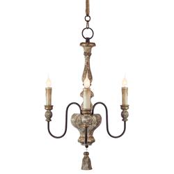 Charlot French Rustic Gold Brown Wood Chandelier