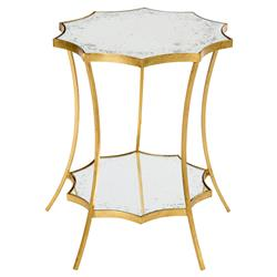 Estee Hollywood Regency Gold Leaf Solar Side Table