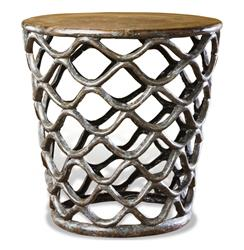 Interlude Lattice Accent Table-Rustic French Antique Cast Brass Side Table