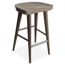 Betsy Modern Rustic Driftwood Teak Counter Stool