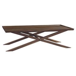 Camilla Mid Century Modern XBase Teak Rectangular Coffee Table