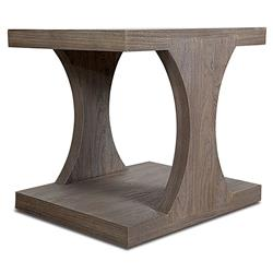 Ainslee Modern Classic Angular Rustic Teak End Table