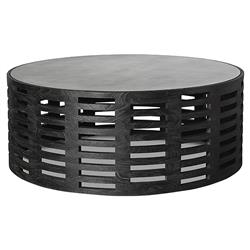 Dahlia Modern Classic Teak Cut Out Round Black Coffee Table