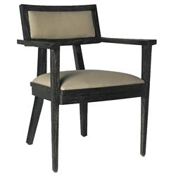 Ainara Rustic Modern Black Grey Linen Arm Chair