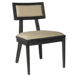 Ainara Rustic Modern Black Grey Linen Side Chair