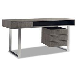 Ijax Industrial Modern Grey Teak Brushed Steel Desk