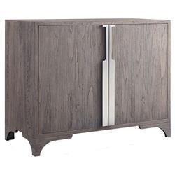 Brooklyn Rustic Grey Teak Wood Silver Hardware Rectangular 2 Door Sideboard