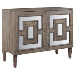 Brooklyn Rustic Grey Teak Wood Antique Mirror Accent Rectangular 2 Door Sideboard