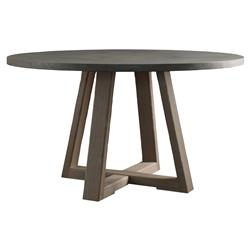 Salome Rustic Lodge Driftwood Teak Round Cement Dining Table - 54D