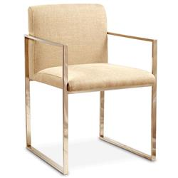 Ari Modern Classic Oat Linen Stainless Steel Arm Chair