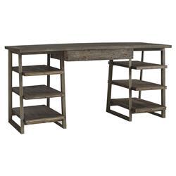 Hill Rustic Industrial Zinc Elm Wood Desk