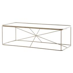 Jemma Modern Brass Cross Frame Rectangular Coffee Table