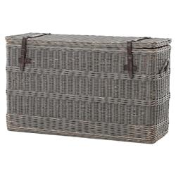 Florin Rustic Lodge Grey Leather Strap Wicker Trunk