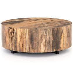 Barthes Rustic Lodge Round Natural Wood Block Coffee Table