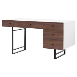 Manfred Modern Classic White Lacquer Walnut 5 Drawer Desk