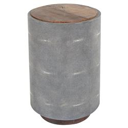Dieter Rustic Modern Grey Faux Shagreen Wood Round Side Table