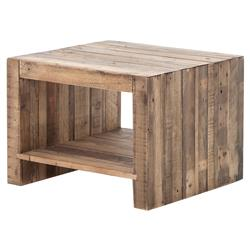 Wyatt Rustic Lodge Chunky Reclaimed Wood Hollow End Table