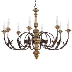 Regina Andrew Florence French Country Rustic Iron Leaf Chandelier