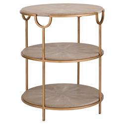 Regina Andrew Vogue Regency Grey Shagreen Round Brass End Table