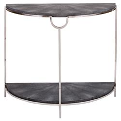 Regina Andrew Vogue Regency Demilune Charcoal Shagreen Silver Console Table