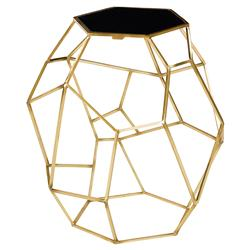 Lucero Modern Gold Open Geometry Granite End Table
