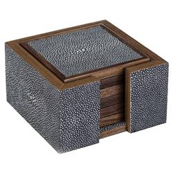 Elora Hollywood Regency Charcoal Shagreen Wood Coasters