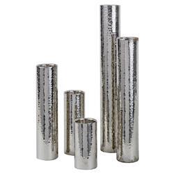 Regina Andrew Polished Modern Hammered Silver Tube Vase - Set of 5