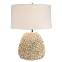 Bethany Coastal Beach Pearlized Ruffle Silver Table Lamp