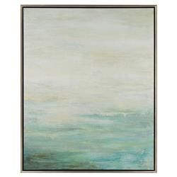 Rockport Coastal Beach Hand Brushed Canvas Silver Framed Wall Art | Kathy Kuo Home