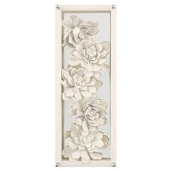 Narnia Modern Hand Painted Large Ivory Succulents Framed Wall Art