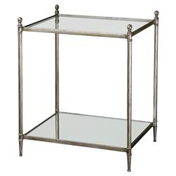 Peba Hollywood Regency Silver Leaf Iron Glass Side Table