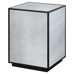 Tila Modern Industrial Black Mirror Block Side Table
