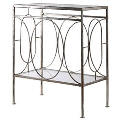 Peg Regency Ornate Silver Iron End Table