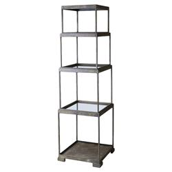 Fritz Industrial Loft Stacked Bronze Cube Etagere