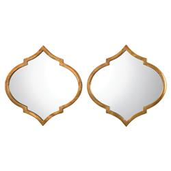 Hester Global Antique Gold Medallion Mirror - Pair