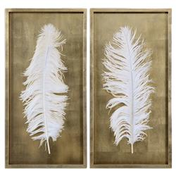 Hollywood Regency White Feather Gold Leaf Box Frame - Set of 2