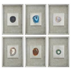 Agate Modern Classic Stone Silver Shadow Box - Set of 6
