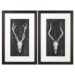 Western Rustic Lodge Charcoal Skull Print - Set of 2