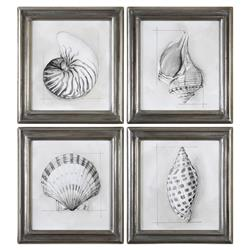 Sea Shell Sketched Coastal Beach Print - Set of 4