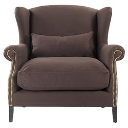 Napoleon Chocolate Brown Brass Nail Head Wingback Accent Armchair