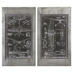 Industrial Loft Galvanized Rivet Frame Aviation Print - Pair