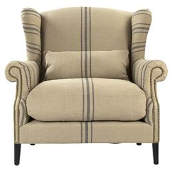 Napoleon French Fog Linen Blue Stripe Wingback Arm Chair | CF076 L002 A033 Blue Stripe